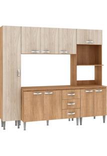 Cozinha Compacta Master Com Tampo Cm04 T Carvalho/Blanche - Fellicci