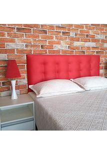 Cabeceira Painel Botonê 15 Suede Vermelho Casal 140 X 60