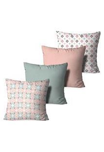 Kit 4 Capas Para Almofadas Decorativas Love Decor Modern Multicolorido Rosa