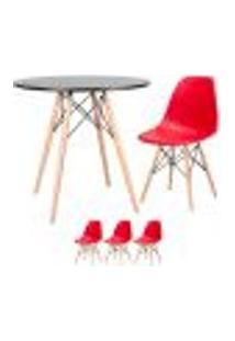 Conjunto De Mesa Eames 80 Cm Preto + 3 Cadeiras Eames Eiffel Dsw Vermelho