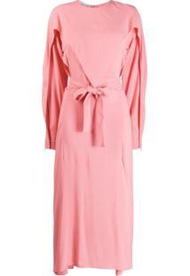 Stella Mccartney Vestido Midi Com Sobreposição - Rosa