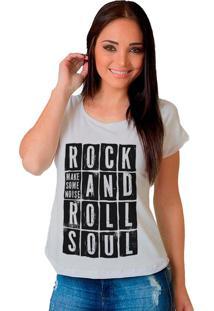 Camiseta Shop225 Rock And Roll Branco - Branco - Feminino - Dafiti