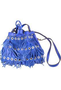 Bolsa Com Franja E Ilhoses - Feminino-Azul
