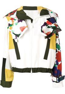 Sacai Jaqueta Assimétrica Estampada - Branco
