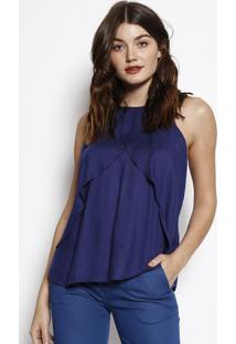 Blusa Com Sobreposição- Azul Marinho- Zincomorena Rosa