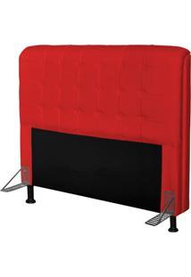 Cabeceira Para Cama Casal Box 195 Cm Califórnia Corino Vermelho - Js Móveis