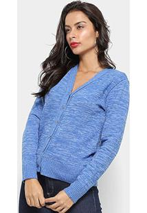 Blusa Tricot Fast Glam Gola V Feminina - Feminino-Azul