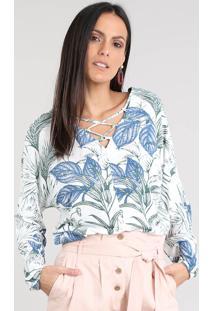 Blusa Feminina Estampada De Folhagem Com Lace Up Manga Longa Decote V Off White