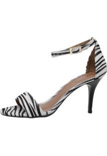 Sandalia Factor Fashion Salto Medio Gabi - Zebra - Tricae