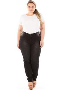 Calça Jeans Plus Size Denin Legging Feminina - Feminino-Preto