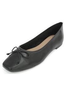 Sapatilha Couro Dali Shoes Bailarina Preto