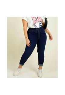 Calça Plus Size Feminina Jeans Skinny Barra Dobrada