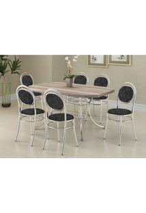 Mesa 1507 Nogueira Cromada Com 6 Cadeiras 190 Fantasia Preto Carraro