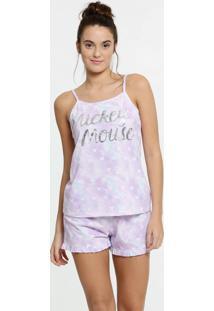 Pijama Feminino Tie Dye Mickey Alças Finas Disney