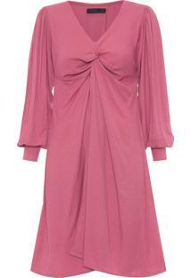 Vestido Midi Capa Com Drapeado - Rosa