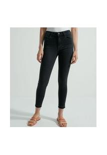 Calça Skinny Jeans Com Barra Desfiada | Marfinno | Preto | 40