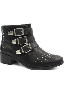 Bota Cano Curto Via Marte Ankle Boot Fivelas Feminina - Feminino-Preto
