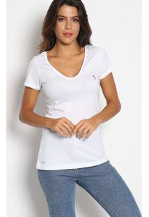 Camiseta Com Bordado - Branca & Pinkaleatory