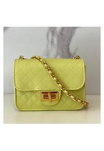 Bolsa Feminina Matelassê E Corrente Dourada Luxo Lançamento Blogueira Verde Lima