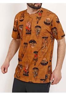 Camiseta Manga Curta Masculina Caramelo