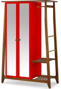Armario Multiuso Stoka 2 Portas Vermelho Estrutura Amendoa 169Cm - 60970 - Sun House