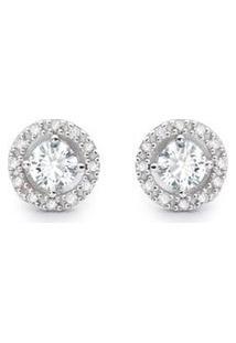 Brinco Solitário Ouro Branco E 49,6 Pontos De Diamantes