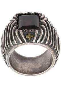 Tobias Wistisen Cross Etched Ring - Preto