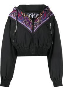 Versace Jeans Couture Jaqueta Corta-Vento Cropped Com Mix De Estampas - Preto