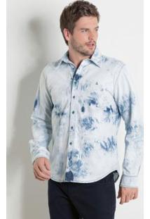Camisa Actual Jeans Claro Com Efeito Tie Dye