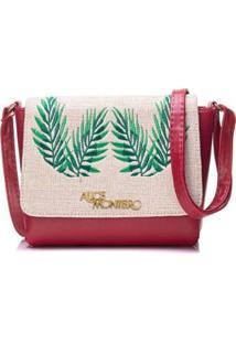 Bolsa Alice Monteiro Com Tampa Bordado Folhas Feminina - Feminino-Vermelho