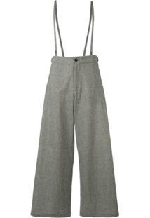 Yohji Yamamoto Calça Pantalona Com Suspensório - Cinza