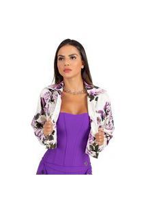 Jaqueta Miss Misses Com Estampa Floral Off-White