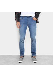 Calça Jeans Skinny Acostamento Estonada Cintura Média Masculina - Masculino