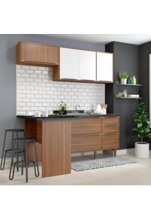Cozinha Compacta 6 Portas 3 Gavetas 5460 Nogueira/Branco - Multimóveis