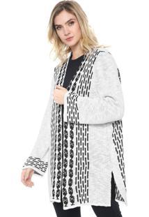 Maxi Cardigan Enfim Tricot Estampado Branco/Preto