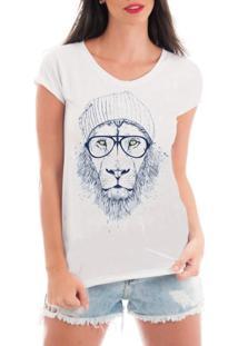 Camiseta Criativa Urbana Rendada Leão Descolado Branca