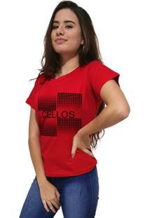 Camiseta Feminina Cellos Degradê Premium Vermelho