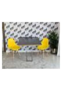 Conjunto De Mesa Dobrável Retrátil 1,40 Preto/Noronha Inox + 2 Cadeiras Eiffel - Amarela