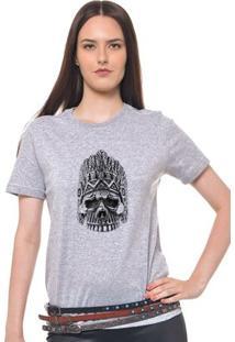 Camiseta Feminina Joss - Caveira Coroa - Feminino-Mescla