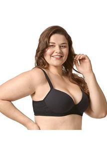 Sutiã Bonjour Plus Size Com Bojo Renda Lateral - Feminino-Preto