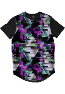 Camiseta Longline Insane 10 Tecnologia Abstrata Glitch Triângulos Sublimada Azul