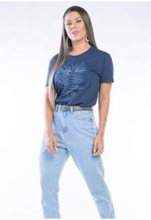Camiseta Cia Gota Manga Curta Carpe Dien Feminina - Feminino-Marinho