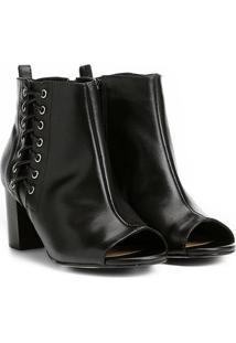 Ankle Boot Couro Shoestock Salto Grosso Tiras