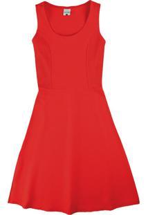 Vestido Vermelho Mídi Em Cotelê