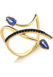 Anel De Ouro 18K Com Safira Azul Gota E Espinélios Negros