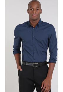 Camisa Masculina Comfort Estampada Mini Print Manga Longa Azul Marinho