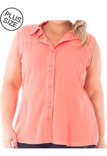 Camisa Feminina Regata De Sarja Com Botões Plus Size,