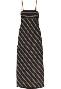 Lee Mathews Vestido Longo Madox Listrado - Preto