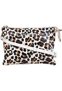 Bolsa Couro Jorge Bischoff Mini Bag Animal Print Leopardo Feminina - Feminino-Onça