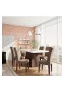 Conjunto De Mesa De Jantar Bianca I Com Vidro E 6 Cadeiras Grécia Veludo Chocolate E Off White
